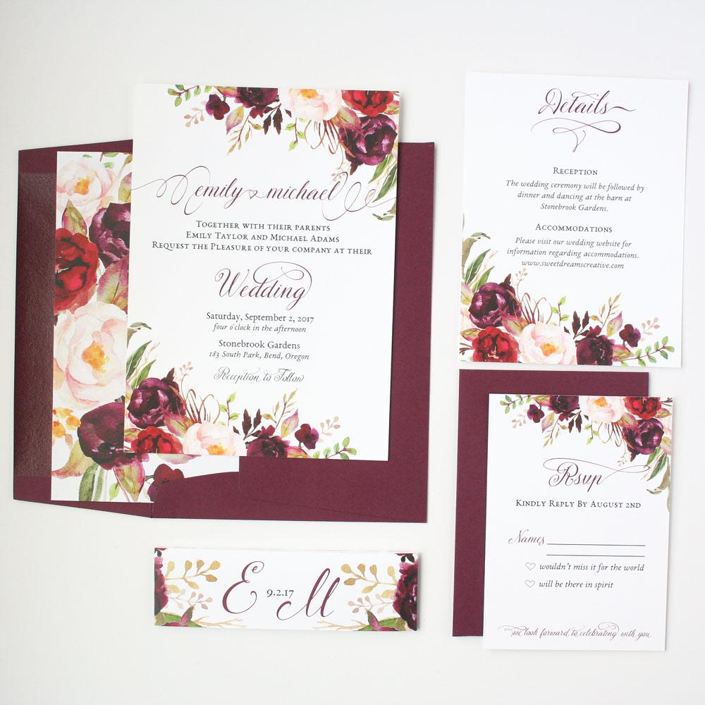 Sample Invitation For Wedding: Burgundy Floral Rustic Script Sophia Wedding Invitation