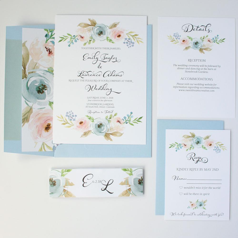 Dusty Blue Harper Wedding Invitation Sample Sweet Dreams Creative