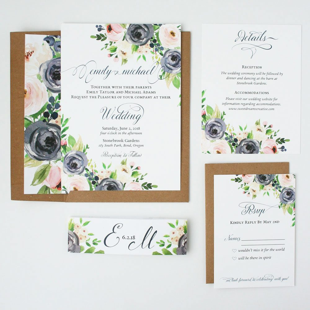 navy and blush rustic ava wedding invitation sample