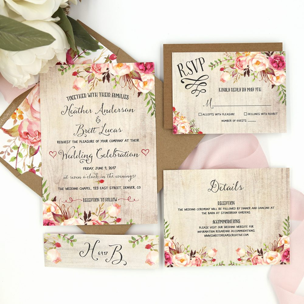 Rustic Garden Riley Wedding Invitation Sample Sweet Dreams Creative