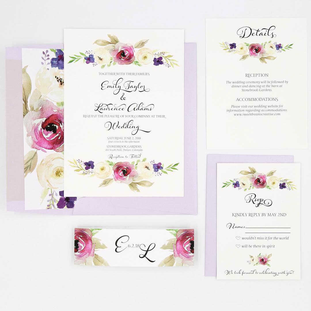 Wedding Invite Sample: Purple Floral Lila Wedding Invitation Sample