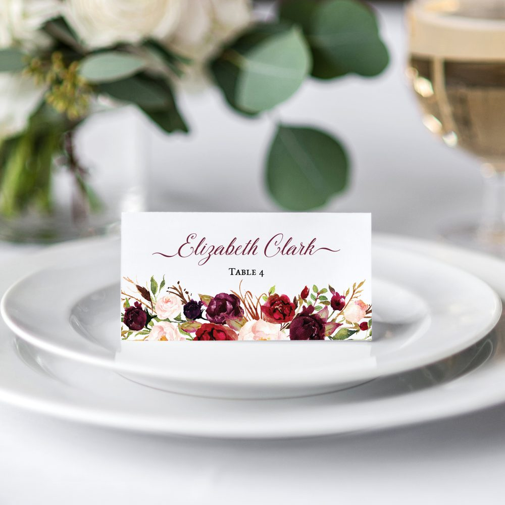 Burgundy-place-card-s
