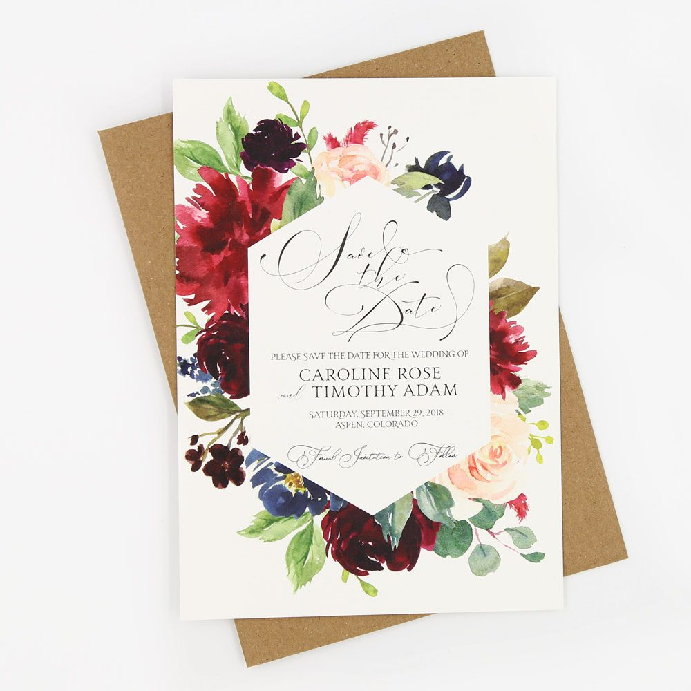 Burgundy Navy Blooms Grace Save The Date Cards Sweet Dreams Creative