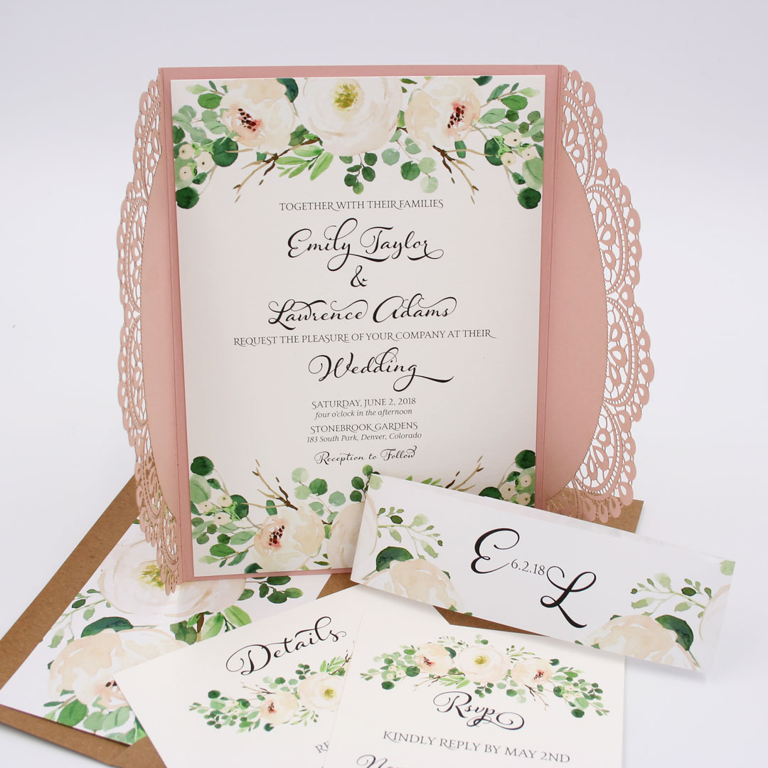 Sample Wedding Invitation Card: Greenery Garden Blooms Emma Laser Cut Wedding Invitation
