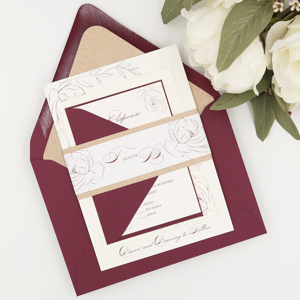 burgundy and rose gold wedding inviation