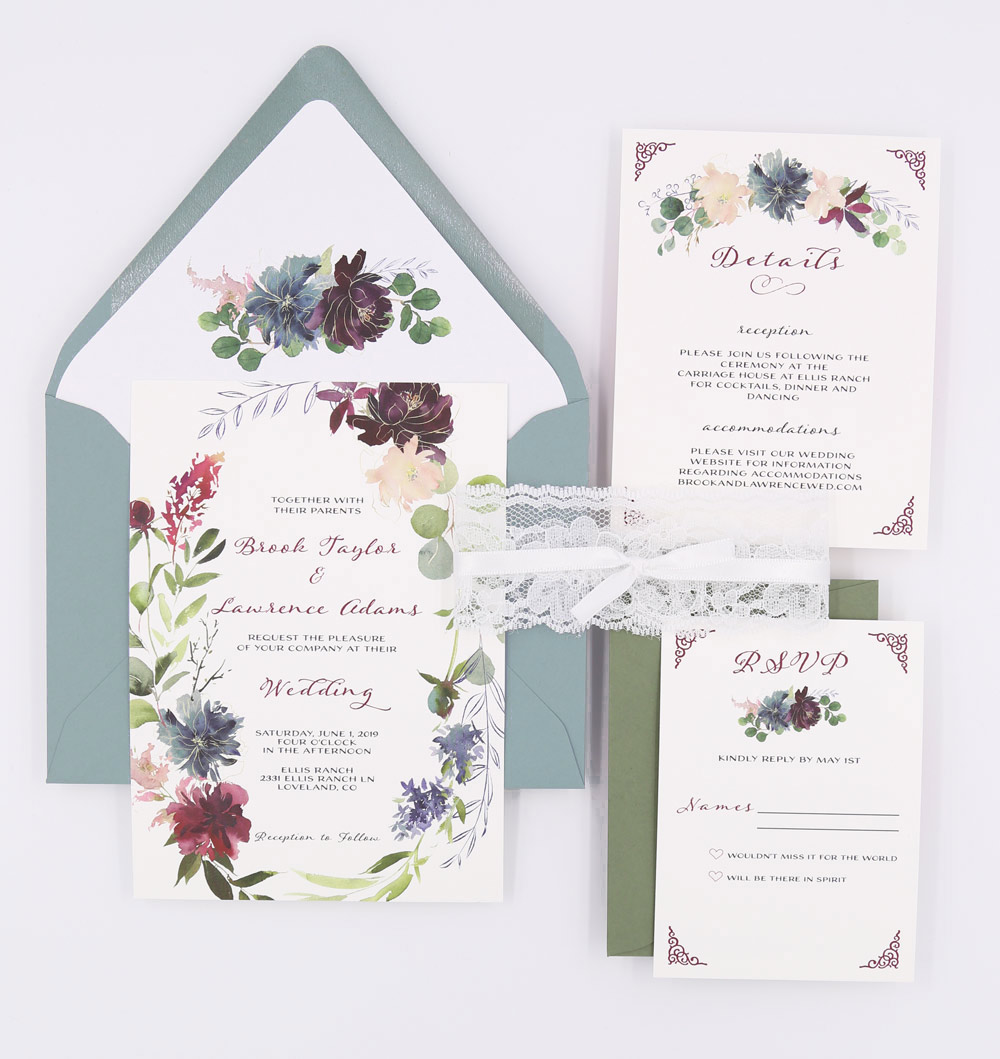 Dusty Blue Lace Wedding Invitations The Brook Suite Sweet Dreams