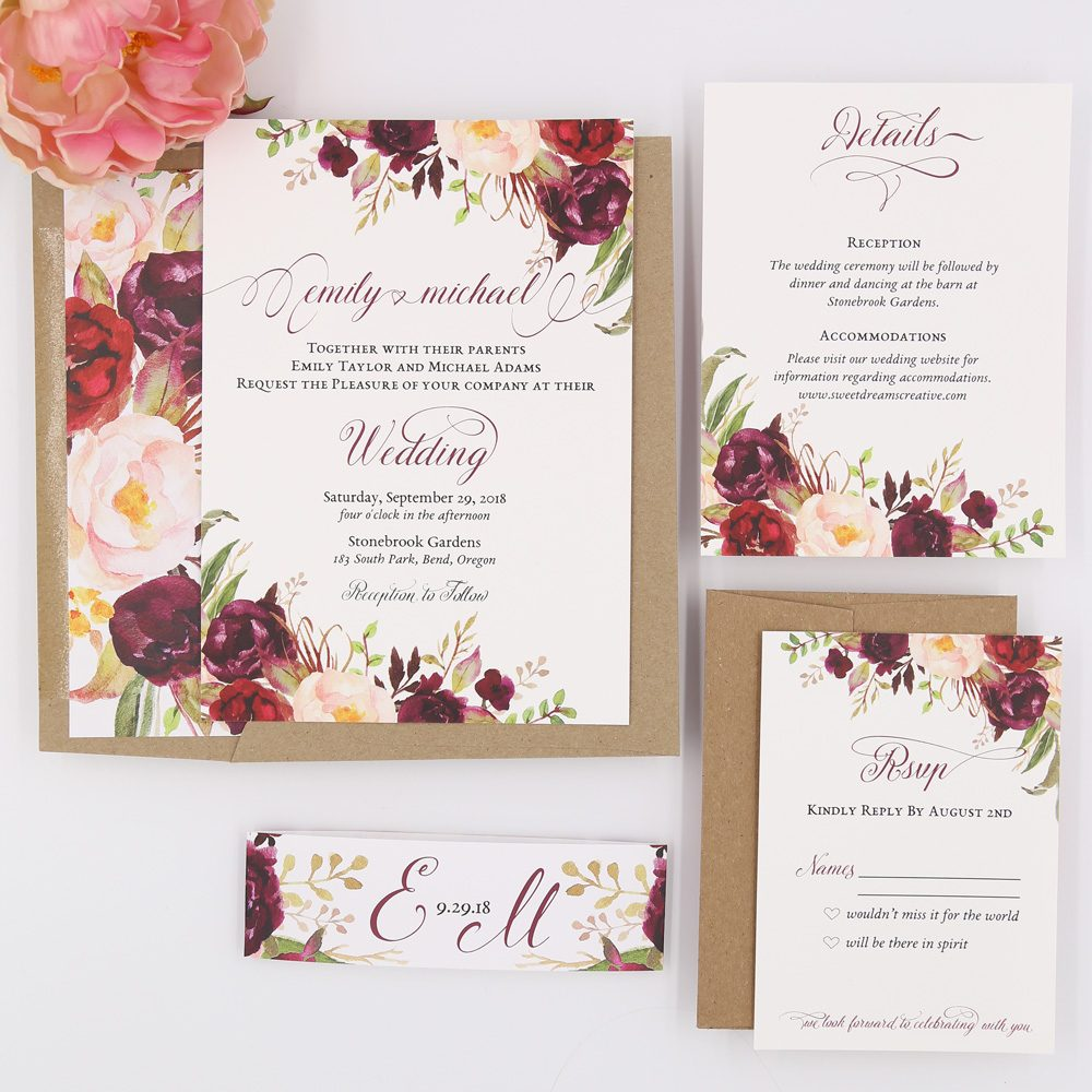 Sample Invitation For Wedding: Rustic Script Burgundy Blooms Sophia Wedding Invitation
