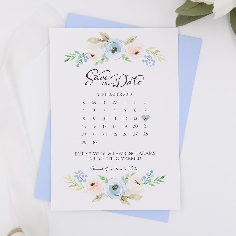 95ff1fb5a39d1 Dusty Blue Harper Calendar Save the Date Cards